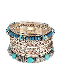 Vintage Blue Beads&chain Weaving Decorated Multilayer Bracelet