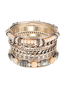 Vintage Beige Beads&chain Weaving Decorated Multilayer Bracelet