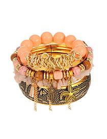 Vintage Pink Hand&starfish Pendant Decorated Multilayer Bracelet