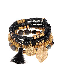 Elegant Black Leaf&tassel Pendant Decorated Multilayer Bracelet