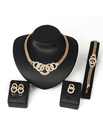 Luxury Gold Color Circle Matching Decorated Simple Jewelry Sets