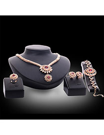 Luxury Gold Color Sun Shape Gemstone Decorated Simple Jewelry Sets