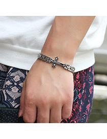 Vintage Silver Color Cross Shape Decorated Hollow Out Chain Bracelet