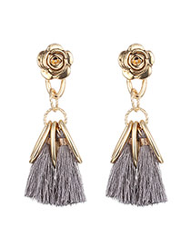 Fashion Gray Long Tassel&vertical Bar Pendant Decorated Flower Shape Earrings