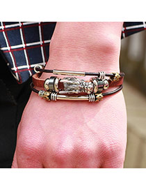 Trendy Coffee Hollow Out Round Shape Decorated Multi-layer Bracelet