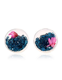 Trendy Blue Flower&diamond Decorated Transparent Round Shape Earrings