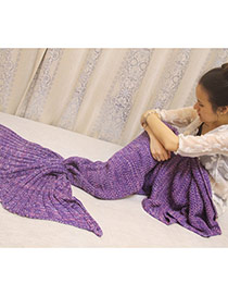 Fashion Purple Pure Color Decorated Mermaid Shape Simple Blanket(small)
