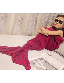Fashion Claret Red Pure Color Decorated Mermaid Shape Simple Blanket(large)