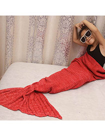 Fashion Red Pure Color Decorated Mermaid Shape Simple Blanket(large)