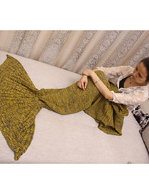 Fashion Yellow Pure Color Decorated Mermaid Shape Simple Blanket(large)