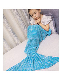 Fashion Blue Pure Color Decorated Mermaid Shape Simple Blanket(small)