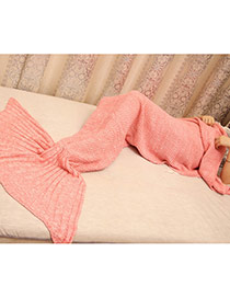 Fashion Pink Pure Color Decorated Mermaid Shape Simple Blanket(large)