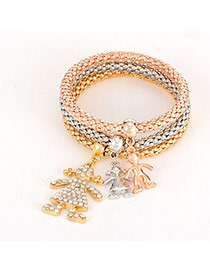 Fashion Multi-color Girl Shape Pendant Decorated Simple Bracelet (3pc)