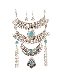 Fashion Silver Color+blue Long Tassel Pendant Decorated Multi-layer Jewelry Sets