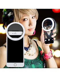 Trendy Black Hollow Out Round Shape Design Simple Led Beauty Selfie Timer(without The Battery)