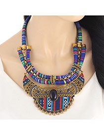Fashion Sapphire Blue Hollow Out Pendant Decorated Simple Collar Necklace