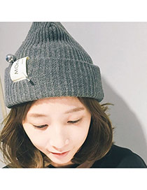 Fashion Dark Gray Pearl Decorated Pure Color Design Simple Knitting Hat