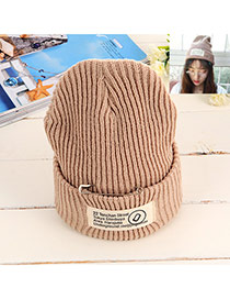 Fashion Khaki Pin Decorated Pure Color Design Simple Kintting Hat