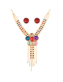 Fashion Multi-color Flower Shape Decorated Tassel Jewelry Sets