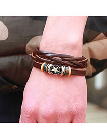 Fashion Coffee Pentagon Pattern Decorated Pure Color Strap Weaving Bracelet