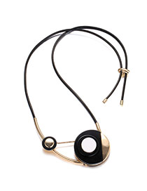 Exaggerated Black Round Shape Pendant Decorated Short Chain Necklace
