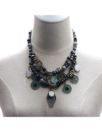 Trendy Black Coin Pendant Decorated Multi-layer Bead Necklace