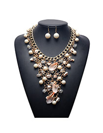 Fashion Gold Color Shell&pearl Decorated Hollow Out Simple Jewelry Sets