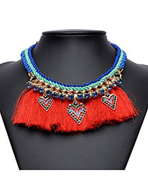 Exaggerated Red Long Tassel Pendant Decorated Simple Collar Necklace