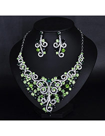 Elegant Green Flower Decorated Hollow Out Jewelry Sets