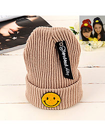 Lovely Khaki Smiling Face Shape Pattern Decorated Knitted Hat