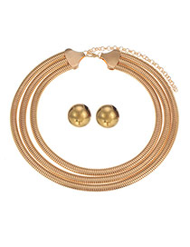 Delicate Gold Color Pure Color Design Short Chain Multilayer Jewelry Sets
