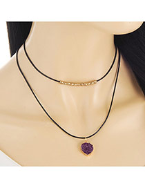 Retro Black Heart Shape Pendant Decorated Double Layer Necklace