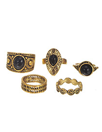 Vintage Gold Color Geometric Shape Gemstone Decorated Ring Sets (5pcs)