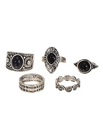 Vintage Silver Color Geometric Shape Gemstone Decorated Ring Sets (5pcs)