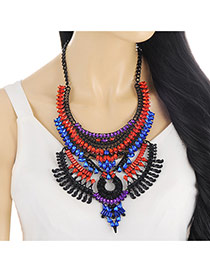 Bohemia Multi-color Geometric Shape Diamond Decorated Hollow Out Necklace