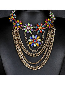 Bohemia Gold Color Flower Pendant Decorated Multilayer Chain Necklace