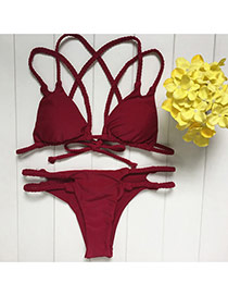 Sexy Claret-red Pure Color Decorated Cross Behind Back Bikini