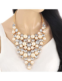 Elegant Gold Color Pearl &diamond Decorated Short Chain Necklace
