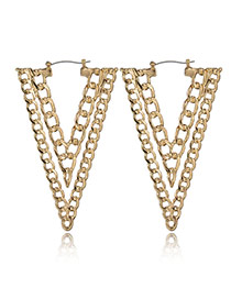 Exaggerate Gold Color Hollow Out Design Triangle Earrings