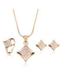 Temperament Rose Gold Diamond Shape Pendant Decorated Long Chain Jewelry Sets