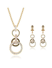 Delicate Gold Color Diamond Decorated Round Shape Pendant Decorated Long Chain Jewelry Sets