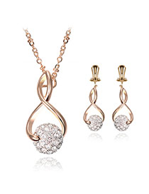 Lovely Gold Color Round Shape Decorated Hollow Out Pendant Long Chain Jewelry Sets