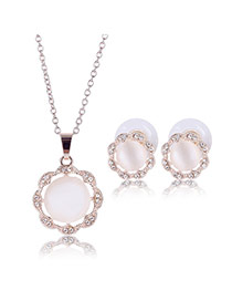 Delicate Rose Gold Round Shape Gemstone Pendant Decorated Long Chain Jewelry Sets