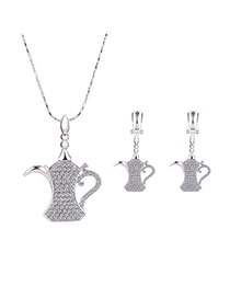 Delicate Silver Color Diamond Decorated Kettle Pendant Decorated Long Chain Jewelry Sets