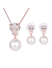 Elegant Rose Gold Cheetah&pearl Pendant Decorate Long Chain Jewelry Sets