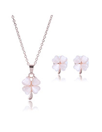Lovely Light Pink Clover Shape Pendant Decorated Long Chain Jewelry Sets