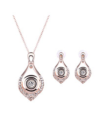 Delicate Rose Gold Diamond Decorated Waterdrop Shape Pendant Long Chain Jewelry Sets