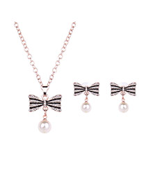 Lovely Rose Gold Pearl Decorated Bowknot Pendant Long Chain Jewelry Sets