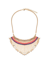 Fashion Gold Color Fan Shape Weaving Decorated Short Chain Necklace