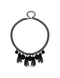 Fashion Gun Black Hollow Out Ball&tassel Pendant Decorated Simple Necklace